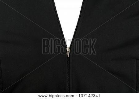 Zipper opening black jacket over white background