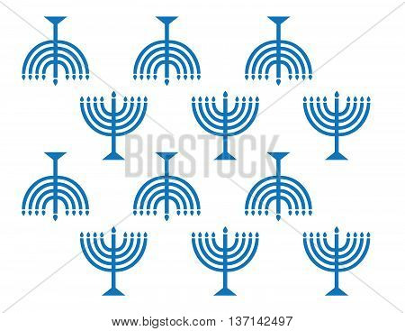 Vector Menorah Wall Paper Background Pattern Blue on White