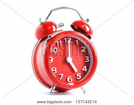 Red double bell alarm clock isolate on white background