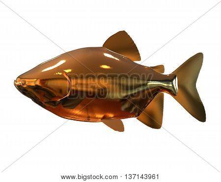 3D illustration golden fish isolated on white background