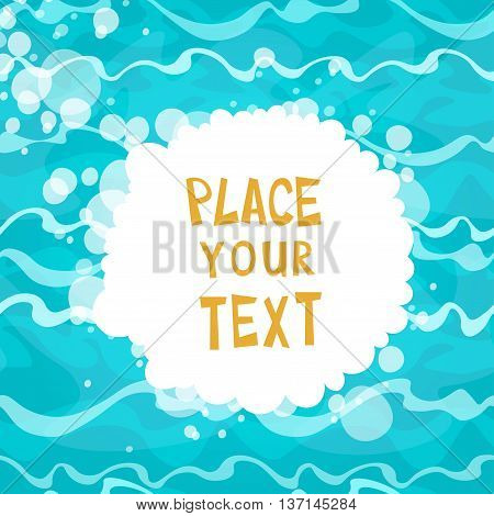 Cartoon placard on shiny blue water background with waves. Vector illustration.