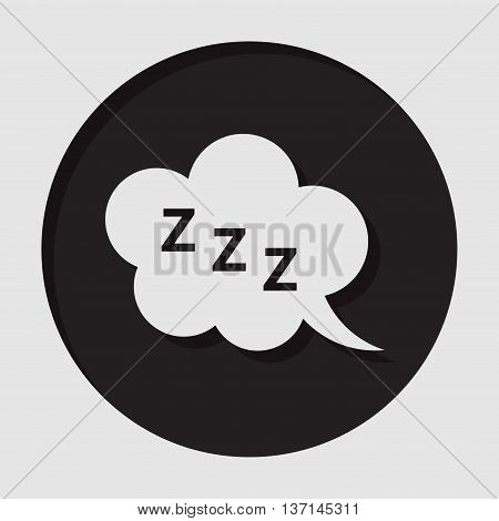 information icon - dark circle with white ZZZ speech bubble and shadow
