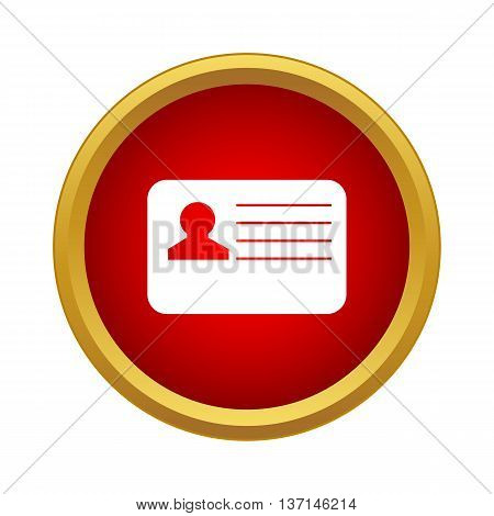 Identification card icon in simple style on a white background