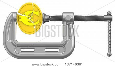 The crisis of the European economy. Cracked gold coin with the symbol of the European currency is clamped in the clamp. Financial concept. The three-dimensional illustration
