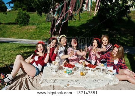 Seven Happy And Sexy Girls Sitting At Picnic Table On Bachelorette Party