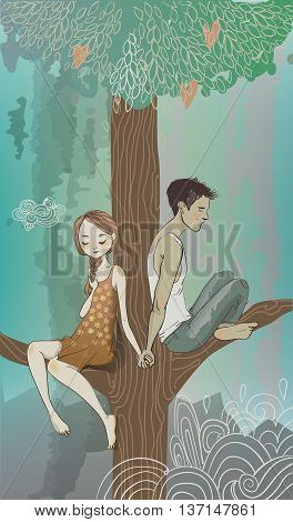 Embraces of a loving couple on the tree