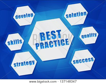 best practice and business concept words in hexagons over blue background, flat design, vector