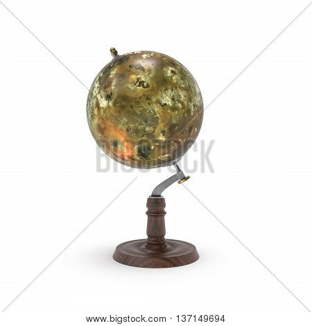 Globe map of io 3d rendering on white background