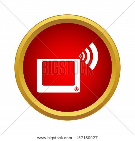 Computer monitor and wi fi sign icon in simple style on a white background