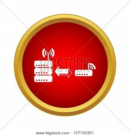 The database is connected to the router icon in simple style on a white background