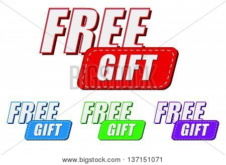 free gift, four colors labels, flat design, business present concept, vector
