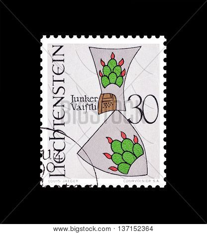 LIECHTENSTEIN - CIRCA 1979 : Cancelled postage stamp printed by Liechtenstein, that shows old coin.