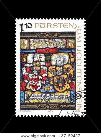 LIECHTENSTEIN - CIRCA 1979 : Cancelled postage stamp printed by Liechtenstein, that shows religious motives.