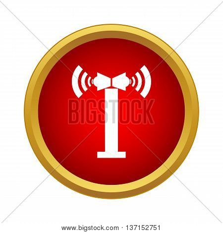 Two loudspeakers on a post icon in simple style on a white background