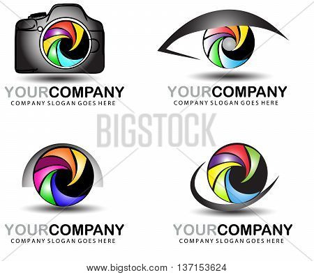 An illustration of a logo representing an abstract photographer logo.Dslr design.Camera logo.Photography element design
