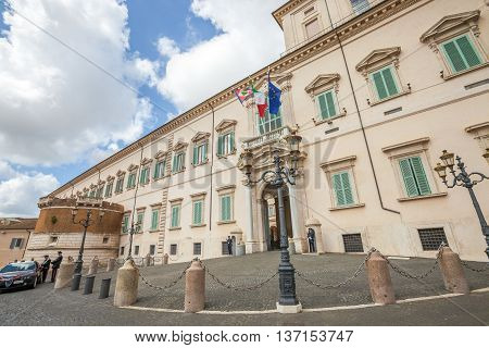 Rome, Italy - May 12, 2016: Quirinale Palace with guards and carabinieri police at the Quirinale square in Rome. It is the residence of the President of Italian Republic.