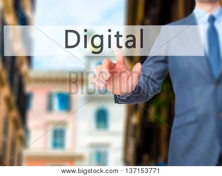 Digital - Businessman Hand Pushing Button On Touch Screen