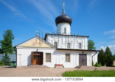 The medieval Church of St. George the victorious on a sunny june day. Staraya Russa