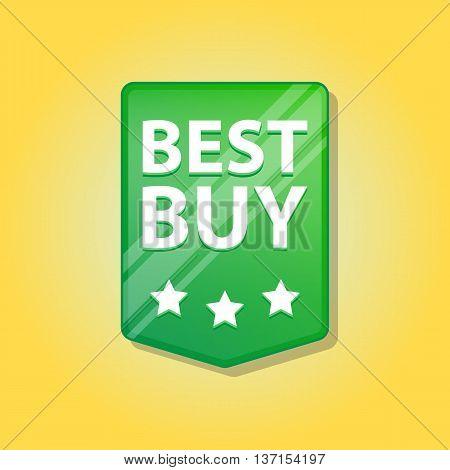 Best buy Label. Vector illustration. Green color. Blue background.