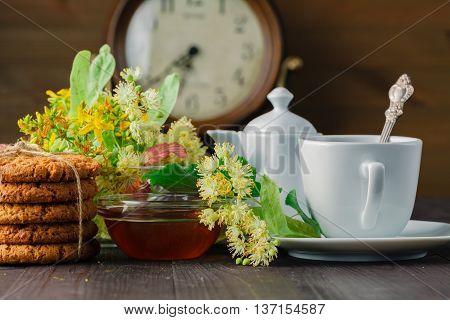 Linden Flowers, Herbal Medicine, Cup Of Healthy Linden Tea