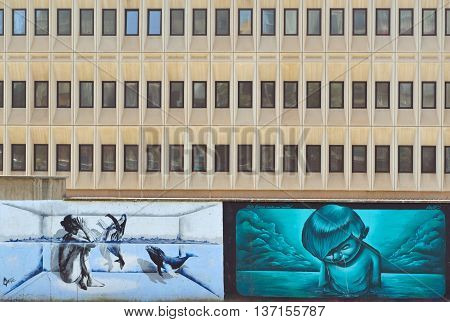 Malaga, Andalucia, Spain - June 29, 2016: Public Art and modern building in the centre of Malaga Spain