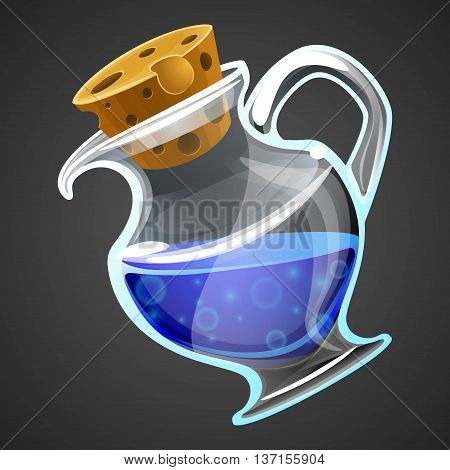 Vector cartoon potion bottle. Vial with blue liquid.