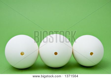 Three Blown Goose Eggs