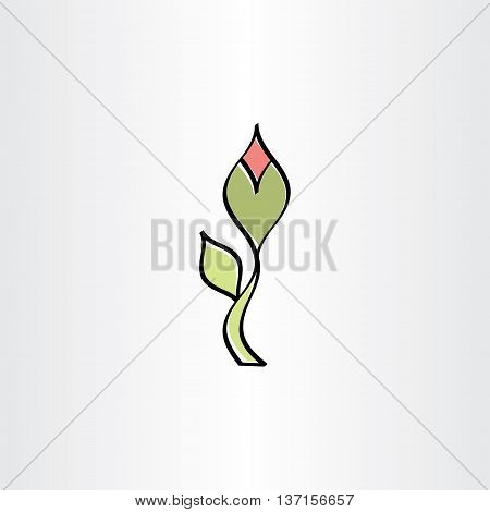 Stylised Flower With Outline Vector Icon