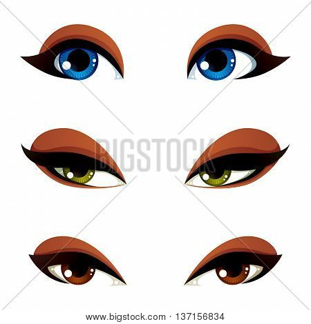 Set of vector blue brown and green eyes. Female eyes expressing different emotions face features of seducing women.