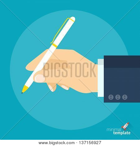 Flat design vector hand with pen icon for application interface, presentation and web design.  The concept template for education, study, contract or offer signing,  message., drawing and writing.