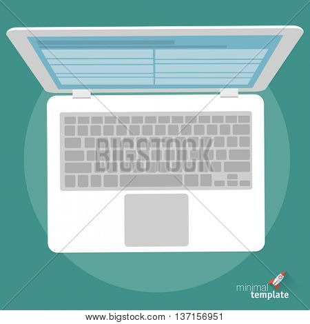 Flat design vector laptop icon. Flat mock up for application interface, presentation and web design.