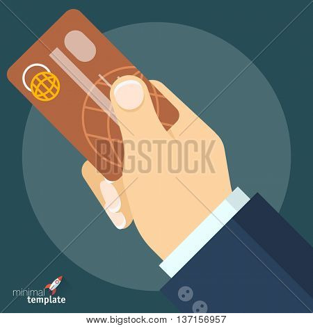 Flat design vector hand with credit card for application interface, presentation and web design. Concept for shopping, payment, finance security, currency exchange, money transfer, cash withdrawal.