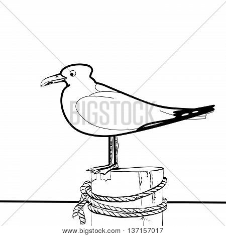 Sea gull sitting on the pier hands drawn vector illustration