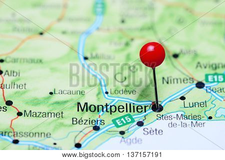 Montpellier pinned on a map of France