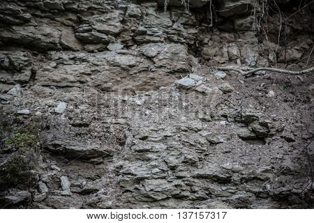 Close up shot of limestone mountain, shallow depth of field