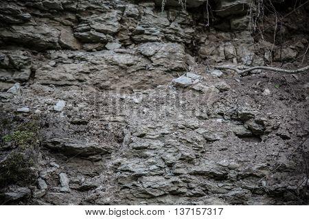 Close up shot of limestone mountain, shallow depth of field