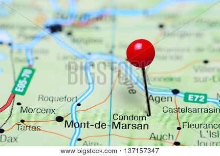 Condom pinned on a map of France