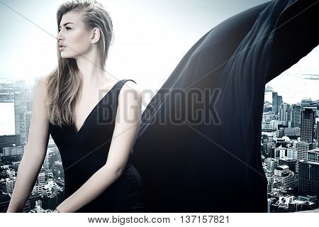 Stylish Elegant Woman Posing In Evening Dress.