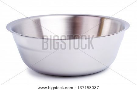 Steel bowl with a double bottom is isolated on a white background
