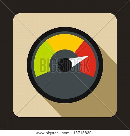 Speedometer at maximum speed icon in flat style with long shadow. Auto spare parts symbol