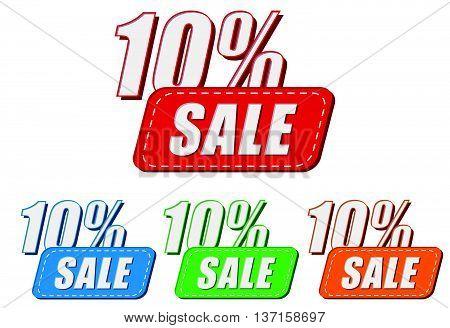 10 percentages sale, four colors labels, flat design, business shopping concept, vector
