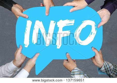 Group Of People Holding Info Information Message News Announcement Announce