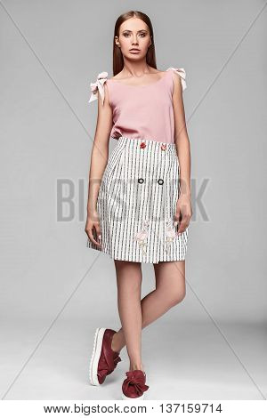Portrait Of Fashion Stylish Swag Young Woman In Skirt