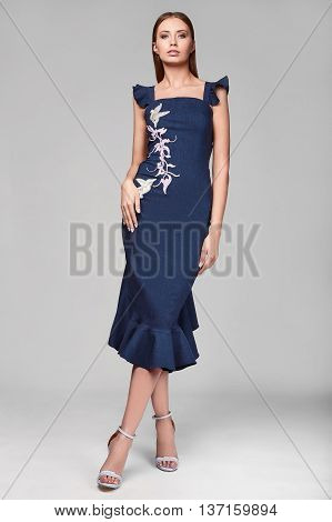 Portrait Of Fashion Stylish Swag Young Woman In Blue Skirt