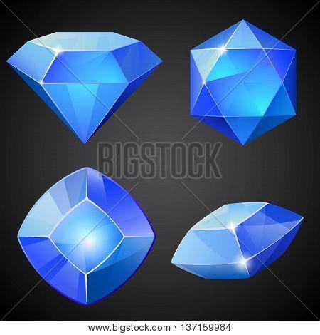 Set of cartoon blue gemstones. Vector illustration.