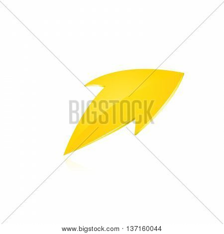 Yellow arrow. Vector illustration on white bacjground.