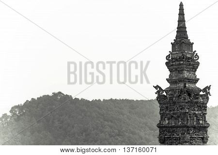 One of the towers, tomb of Khai Dinh emperor in Hue, Vietnam