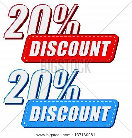 20 percentages discount in two colors labels, business shopping concept, flat design, vector