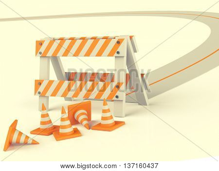 Traffic cones isolated on white. Toned image, 3D illustration