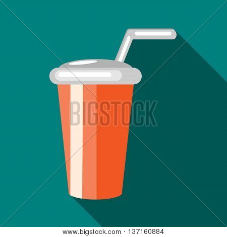 Glass with straw icon in flat style with long shadow. Drinks and utensils symbol